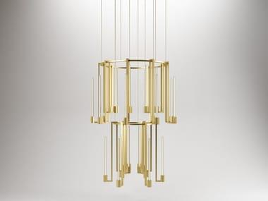 Murano glass pendant lamp KALI' CHANDELIER 2 RINGS