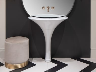 Pedestal White Tec washbasin KALOS | Washbasin