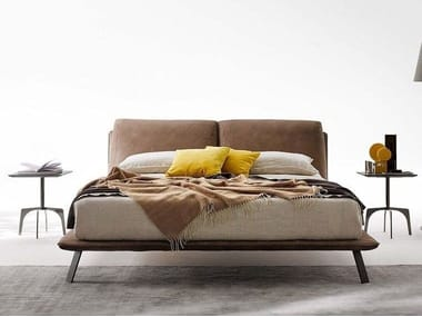 Upholstered leather bed double bed KAHANA | Bed double bed