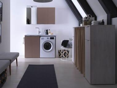 Mobile lavanderia in nobilitato con lavatoio per lavatrice KANDY 09