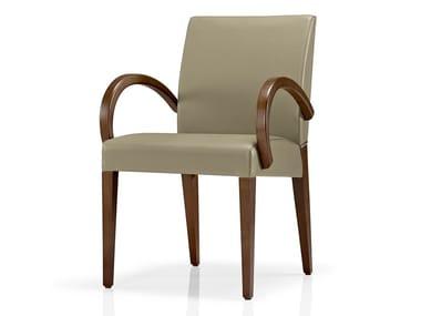 Cadeira de pele com braços KAREN | Cadeira com braços