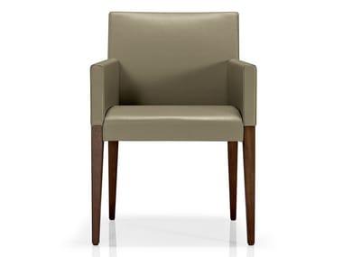 Cadeira lounge de pele com braços KAREN | Cadeira lounge com braços