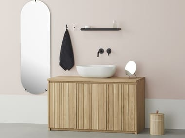 Solid wood vanity unit with doors KARIMOKU VANITY