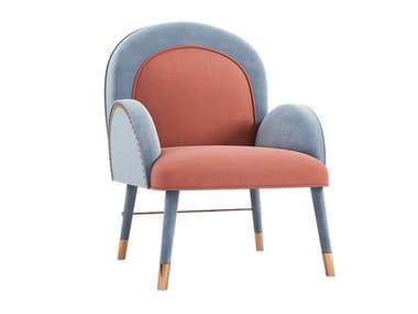 Upholstered velvet chair with armrests KARIN