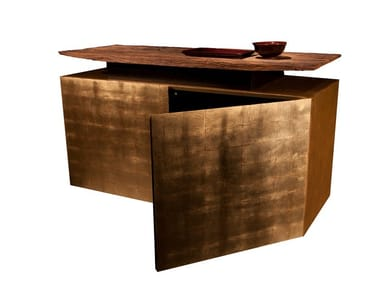 Lacquered gold leaf sideboard with doors KATAI 1