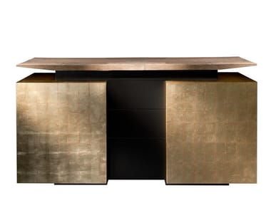 Lacquered gold leaf sideboard with doors KATAI 2