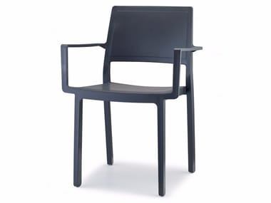 Contemporary style technopolymer restaurant chair with armrests KATE | Chair with armrests
