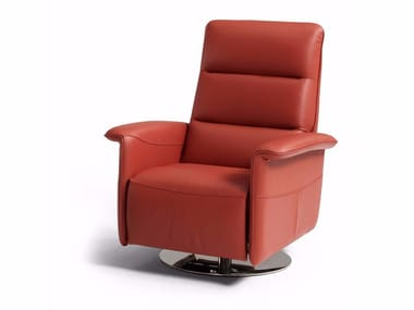 Upholstered relaxing leather armchair with armrests KELLY