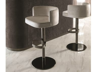 Swivel leather stool with footrest KELLY