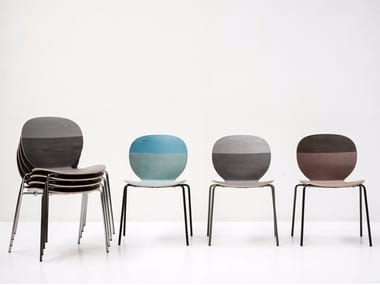 Stackable lacquered wooden chair KELLY V