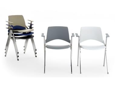 Sedia impilabile pieghevole con braccioli LAKENDÒ PLASTIC | Sedia con braccioli