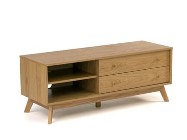 Wood veneer TV cabinet with drawers KENSAL | TV cabinet