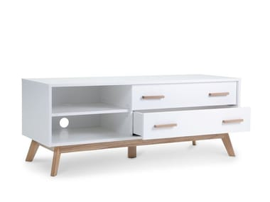 Melamine-faced chipboard TV cabinet with drawers with cable management KENSAL NORDIC | TV cabinet