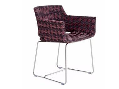 Sedia con braccioli e rivestimento in fibra sintetica KENTE | Sedia