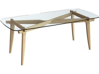 Rectangular wood and glass dining table KILNER
