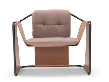 Leather and fabric armchair with armrests KIMONO