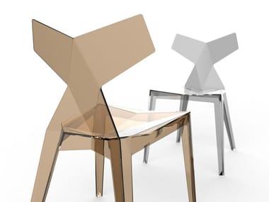Contemporary style stackable plastic garden chair KIMONO