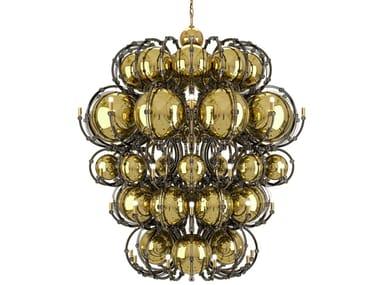 Lampadario a luce diretta in acciaio inox e cristallo KING