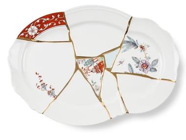 Porcelain and golden serving plate KINTSUGI | Serving plate