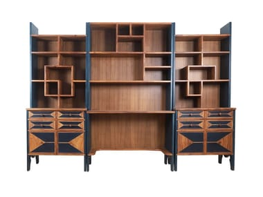 Wooden storage wall with secretary desk KITAPLIK | Storage wall with secretary desk