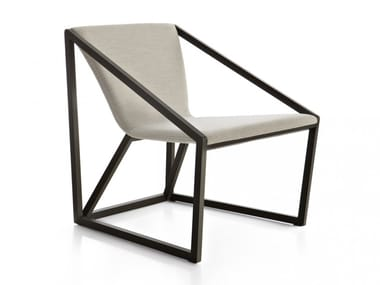 Fabric and beech easy chair with armrests KITE