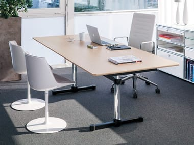 Lacquered rectangular MDF meeting table UMS KITOS M MEETING