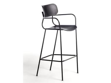 Multi-layer wood stool with armrests KIYUMI WOOD ST | Stool