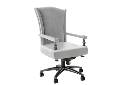Leather executive chair with 5-spoke base with armrests KLOSE OFFICE