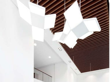 Metal ceiling panels with wood effect KNAUF ARMSTRONG EFFECTS ON METAL