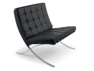 Leather armchair KNOLL - BARCELONA® BLACK | Armchair