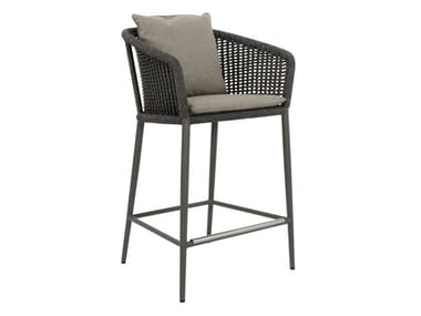 Olefin rope and aluminium stool with armrests KNOT | Stool
