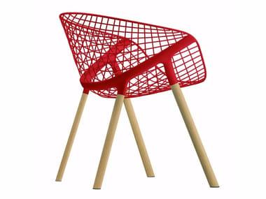 Sedia in acciaio e legno con braccioli KOBI WOOD - 041