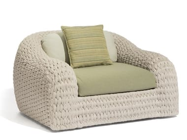 Rope garden armchair with armrests KOBO | Garden armchair