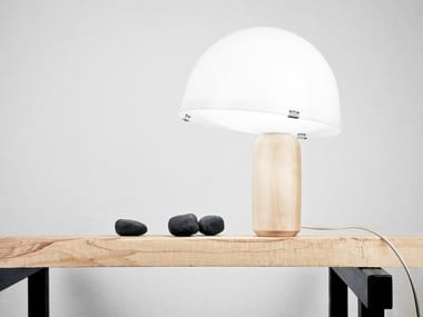 Fluorescent maple table lamp KOKESHI