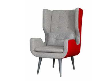 High-back fabric armchair KOLTUKA