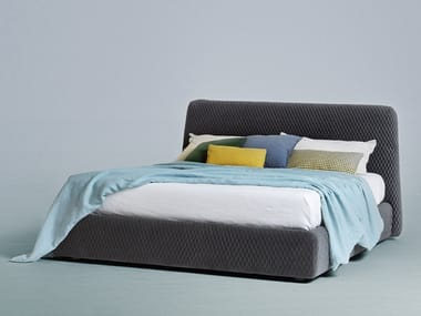 Upholstered fabric storage bed KONAN