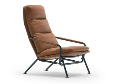 Recliner leather armchair with footstool KONTRAPUNKT