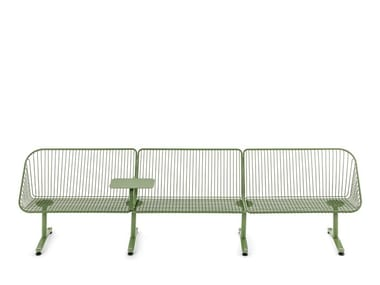 Modular powder coated steel bench seating with back KORG