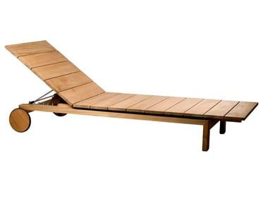 Recliner teak sun lounger with castors KOS   Sun lounger