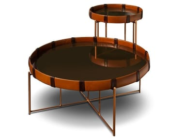 Round cowhide coffee table KRADONG