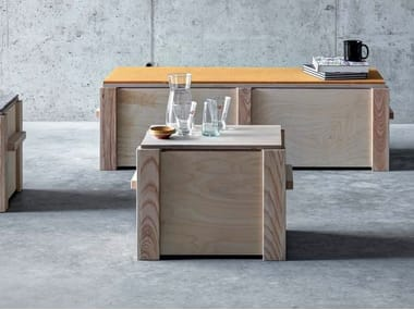 Rectangular multi-layer wood coffee table with storage space KREFELD | Coffee table