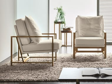 Fabric armchair with metal structure KRIZIA