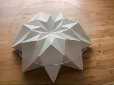 Round concrete garden side table KRONEN