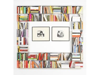 Wall-mounted sectional aluminium bookcase KROSSING