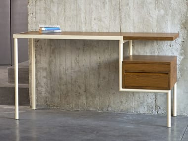 Rectangular Wooden Office Desk With Drawers KTAB TEAK CREAM