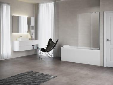 Mampara de bañera en aluminio y vidrio KUADRA 3V