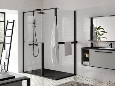 Aluminum and tempered glass shower panel KUADRA H+H FRAME