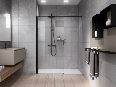 Aluminum and tempered glass shower panel in niche version KUADRA HN FRAME