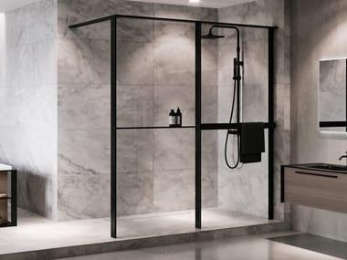 Glass and aluminium shower panel with shelf and towel holder KUADRA HWZ1 FRAME