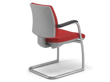 Cantilever fabric chair with armrests KUBIKA | Cantilever chair